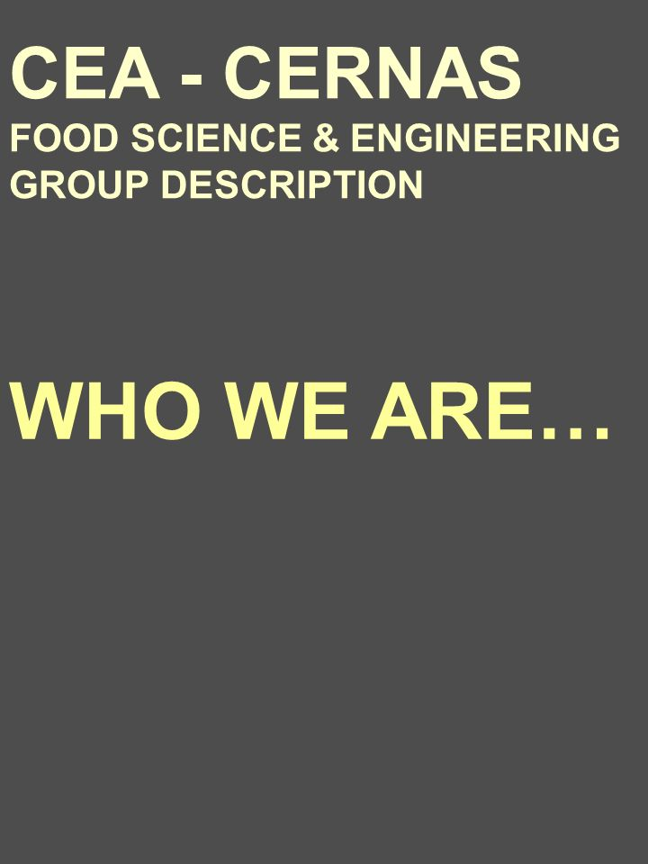 CEA - CERNAS FOOD SCIENCE & ENGINEERING GROUP DESCRIPTION WHO WE ARE…