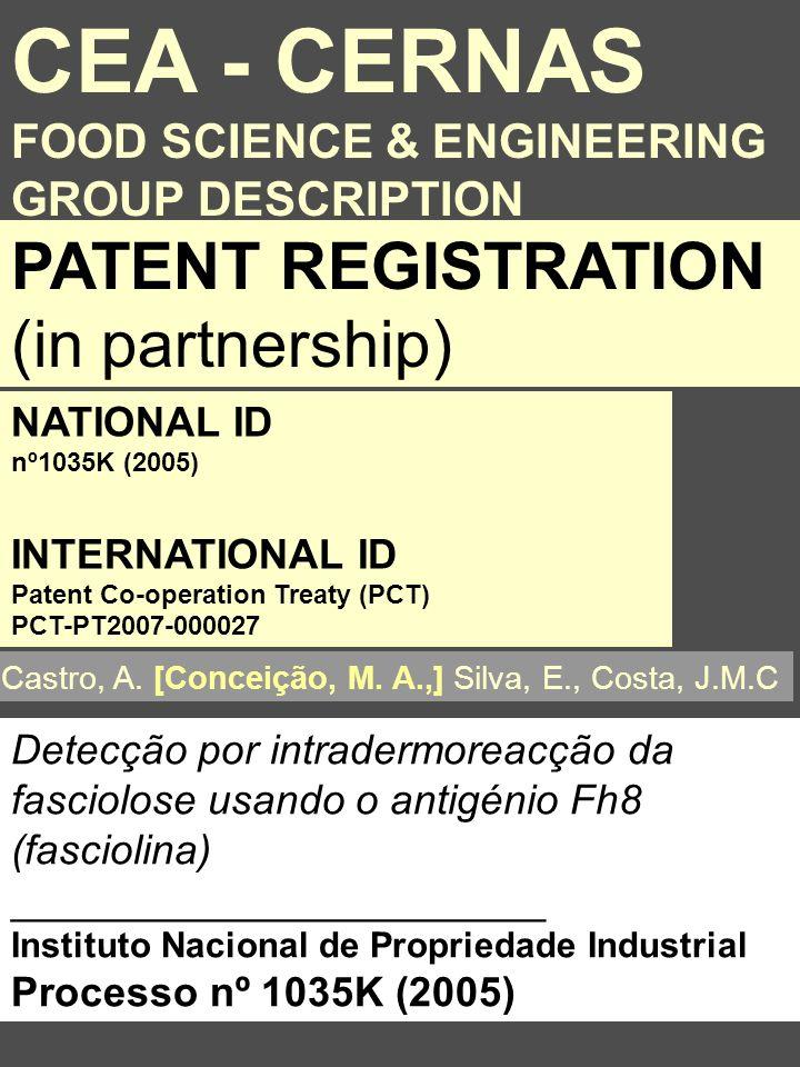 Detecção por intradermoreacção da fasciolose usando o antigénio Fh8 (fasciolina) _______________________ Instituto Nacional de Propriedade Industrial Processo nº 1035K (2005) PATENT REGISTRATION (in partnership) Castro, A.