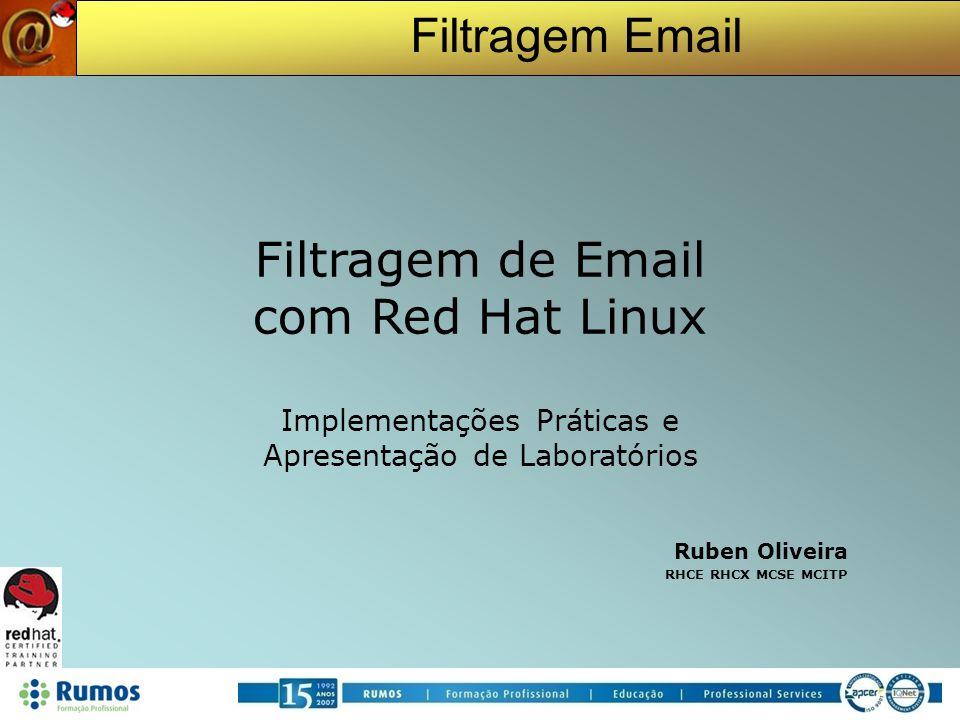Filtragem Email Filtragem de Email com Red Hat Linux Implementações Práticas e Apresentação de Laboratórios Ruben Oliveira RHCE RHCX MCSE MCITP