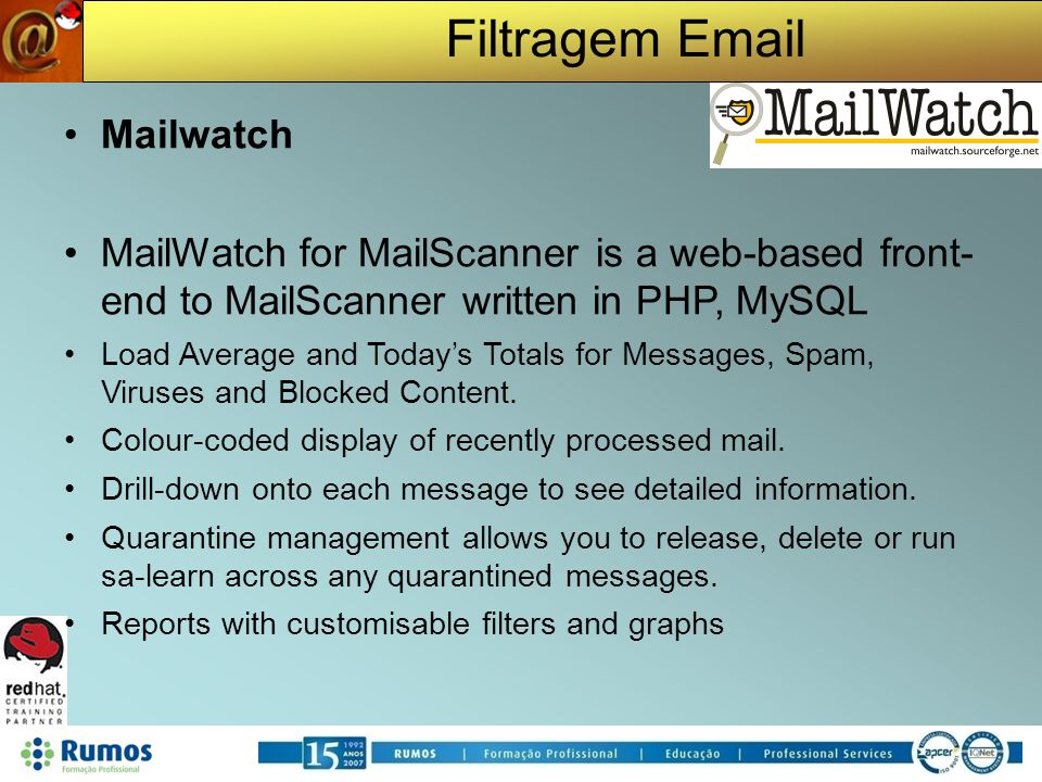Filtragem Email Mailwatch MailWatch for MailScanner is a web-based front- end to MailScanner written in PHP, MySQL Load Average and Todays Totals for Messages, Spam, Viruses and Blocked Content.