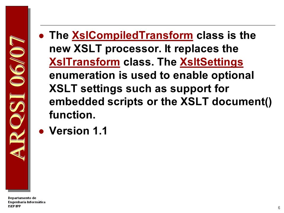 5 Migrating from Version 1.1 of the XML Classes http://msdn2.microsoft.com/en- us/library/534aacaa.aspx