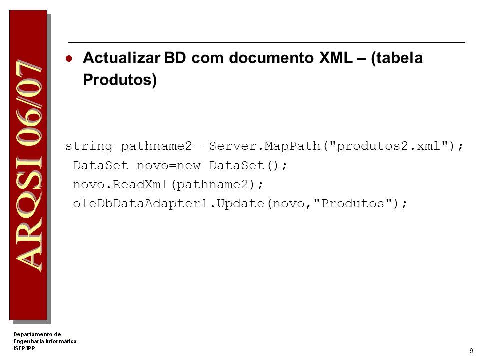 8 Criar XML com informação de um DataSet (2) Método GetXml do DataSet Class XPathNavigator Provides a cursor model for navigating and editing XML data.