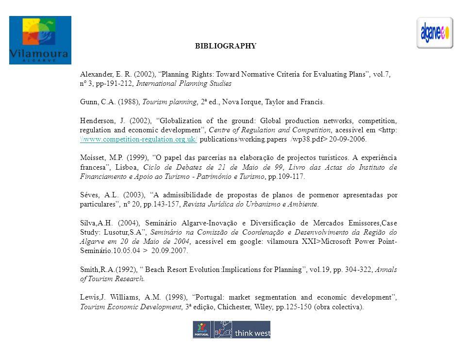 Alexander, E. R. (2002), Planning Rights: Toward Normative Criteria for Evaluating Plans, vol.7, nº 3, pp-191-212, International Planning Studies Gunn