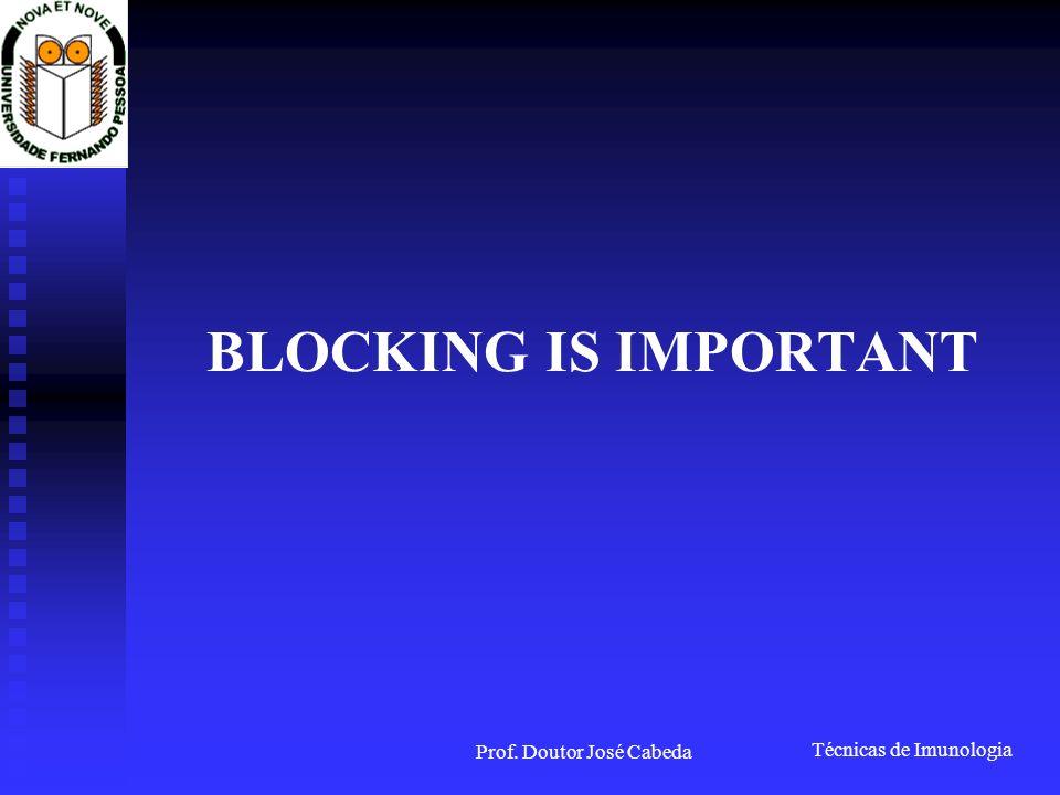 Técnicas de Imunologia Prof. Doutor José Cabeda BLOCKING IS IMPORTANT