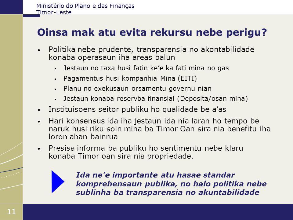 Ministério do Plano e das Finanças Timor-Leste 11 Oinsa mak atu evita rekursu nebe perigu? Politika nebe prudente, transparensia no akontabilidade kon