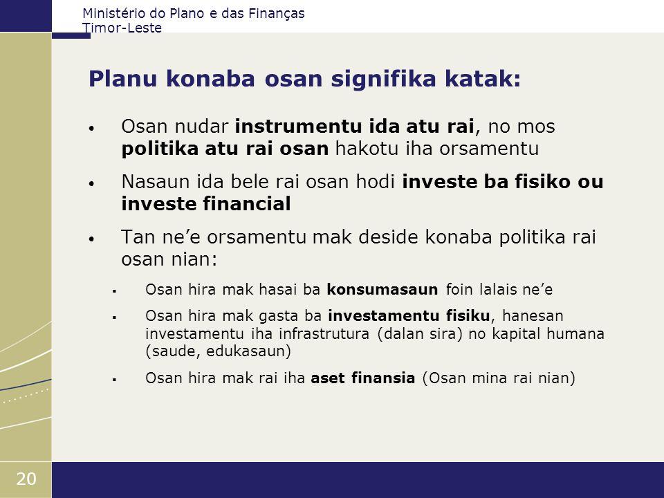 Ministério do Plano e das Finanças Timor-Leste 20 Planu konaba osan signifika katak: Osan nudar instrumentu ida atu rai, no mos politika atu rai osan