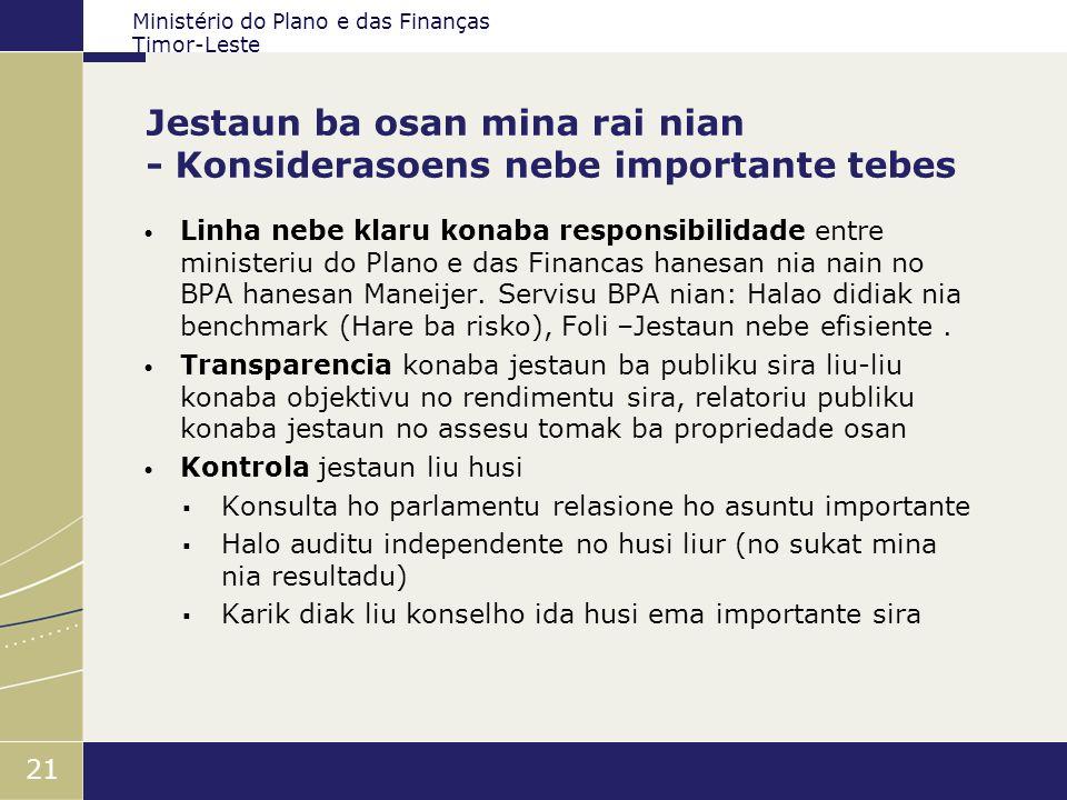 Ministério do Plano e das Finanças Timor-Leste 21 Jestaun ba osan mina rai nian - Konsiderasoens nebe importante tebes Linha nebe klaru konaba respons