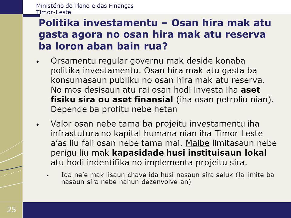 Ministério do Plano e das Finanças Timor-Leste 25 Politika investamentu – Osan hira mak atu gasta agora no osan hira mak atu reserva ba loron aban bai