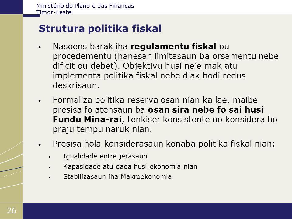 Ministério do Plano e das Finanças Timor-Leste 26 Strutura politika fiskal Nasoens barak iha regulamentu fiskal ou procedementu (hanesan limitasaun ba