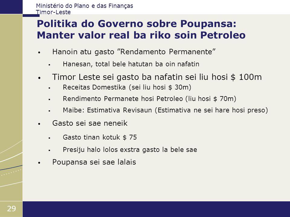 Ministério do Plano e das Finanças Timor-Leste 29 Politika do Governo sobre Poupansa: Manter valor real ba riko soin Petroleo Hanoin atu gasto Rendame