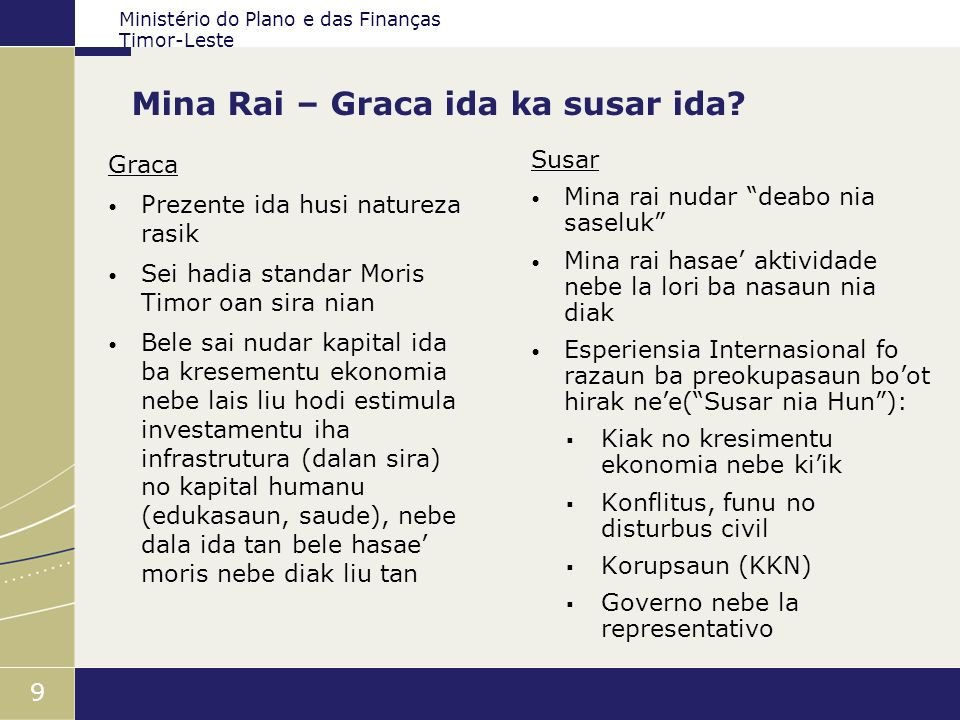 Ministério do Plano e das Finanças Timor-Leste 9 Mina Rai – Graca ida ka susar ida? Graca Prezente ida husi natureza rasik Sei hadia standar Moris Tim