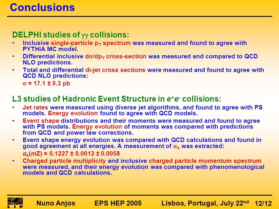 Nuno Anjos EPS HEP 2005 Lisboa, Portugal, July 22 nd 12/12 Conclusions DELPHI studies of collisions: Inclusive single-particle p T spectrum was measur