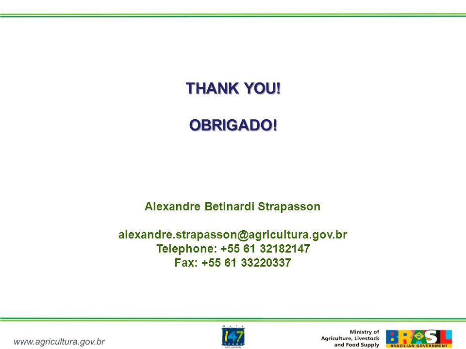 THANK YOU! OBRIGADO! Alexandre Betinardi Strapasson alexandre.strapasson@agricultura.gov.br Telephone: +55 61 32182147 Fax: +55 61 33220337