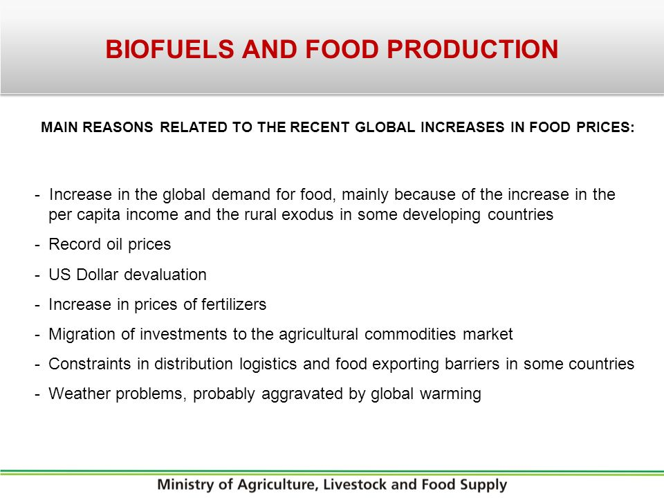 MAIN REASONS RELATED TO THE RECENT GLOBAL INCREASES IN FOOD PRICES: - Increase in the global demand for food, mainly because of the increase in the per capita income and the rural exodus in some developing countries -Record oil prices -US Dollar devaluation -Increase in prices of fertilizers -Migration of investments to the agricultural commodities market -Constraints in distribution logistics and food exporting barriers in some countries -Weather problems, probably aggravated by global warming BIOFUELS AND FOOD PRODUCTION