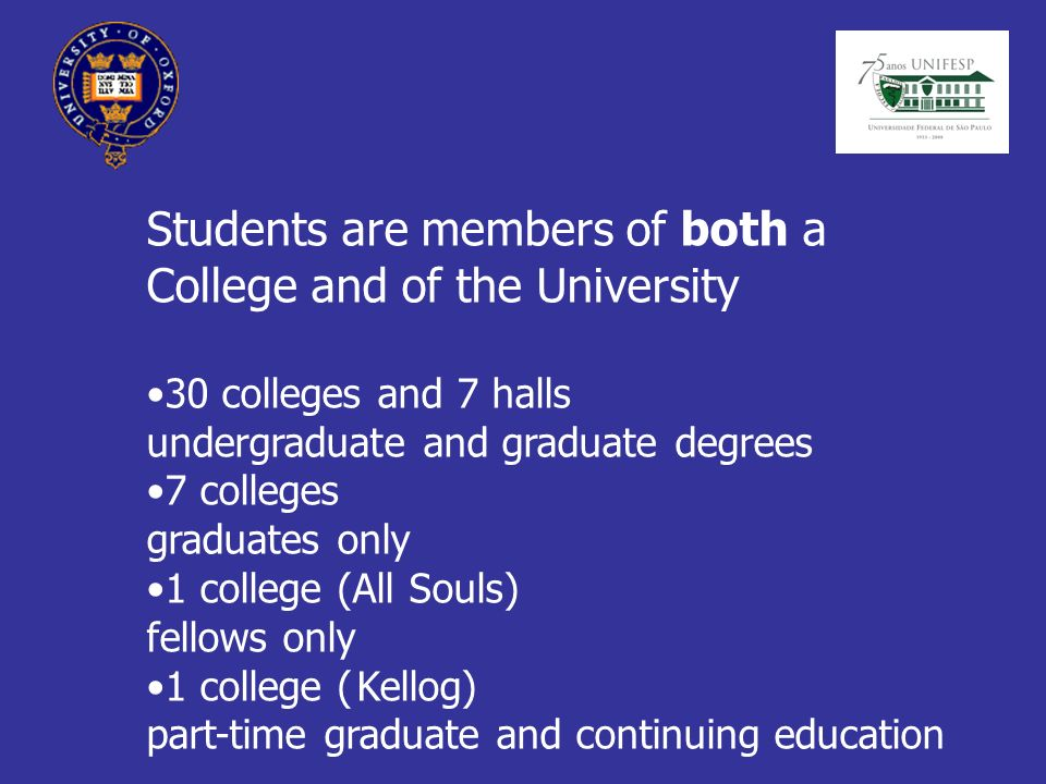 Students are members of both a College and of the University 30 colleges and 7 halls undergraduate and graduate degrees 7 colleges graduates only 1 college (All Souls) fellows only 1 college ( Kellog) part-time graduate and continuing education