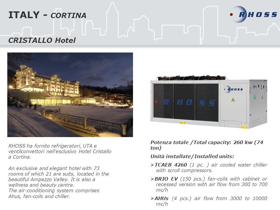 ITALY - CORTINA RHOSS ha fornito refrigeratori, UTA e ventilconvettori nellesclusivo Hotel Cristallo a Cortina. An exclusive and elegant hotel with 73