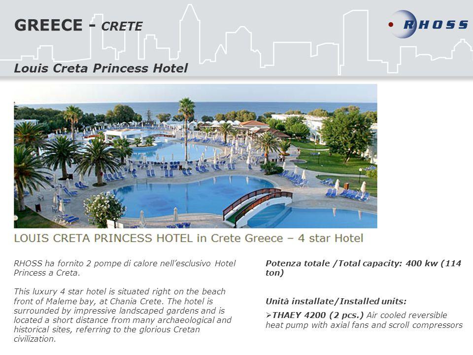 GREECE - CRETE RHOSS ha fornito 2 pompe di calore nellesclusivo Hotel Princess a Creta. This luxury 4 star hotel is situated right on the beach front