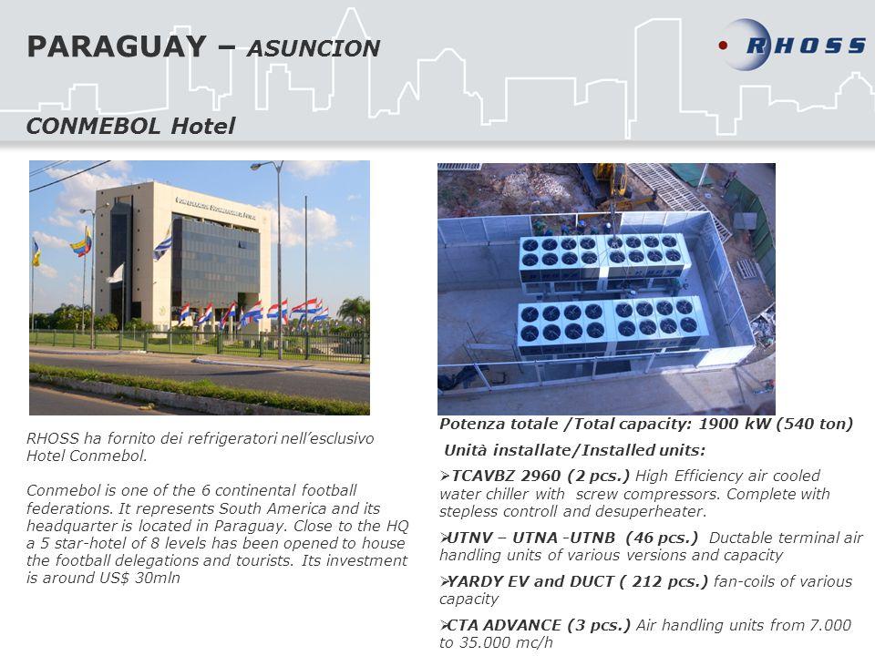 PARAGUAY – ASUNCION RHOSS ha fornito dei refrigeratori nellesclusivo Hotel Conmebol. Conmebol is one of the 6 continental football federations. It rep