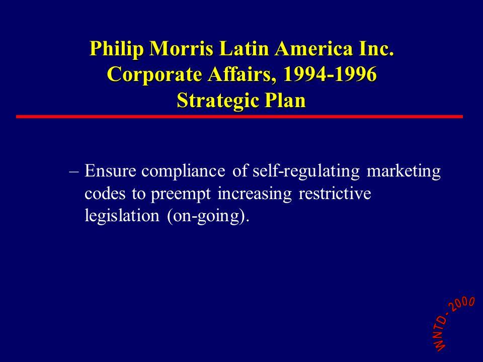 Philip Morris Latin America Inc. Corporate Affairs, 1994-1996 Strategic Plan –Ensure compliance of self-regulating marketing codes to preempt increasi