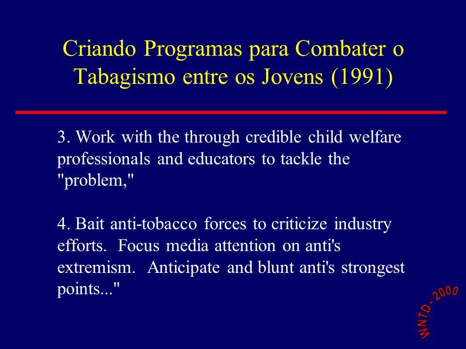 Criando Programas para Combater o Tabagismo entre os Jovens (1991) 3. Work with the through credible child welfare professionals and educators to tack