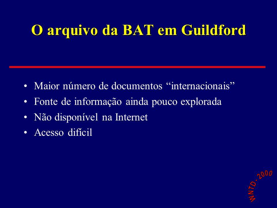 O arquivo da BAT em Guildford Maior número de documentos internacionais Fonte de informação ainda pouco explorada Não disponível na Internet Acesso di