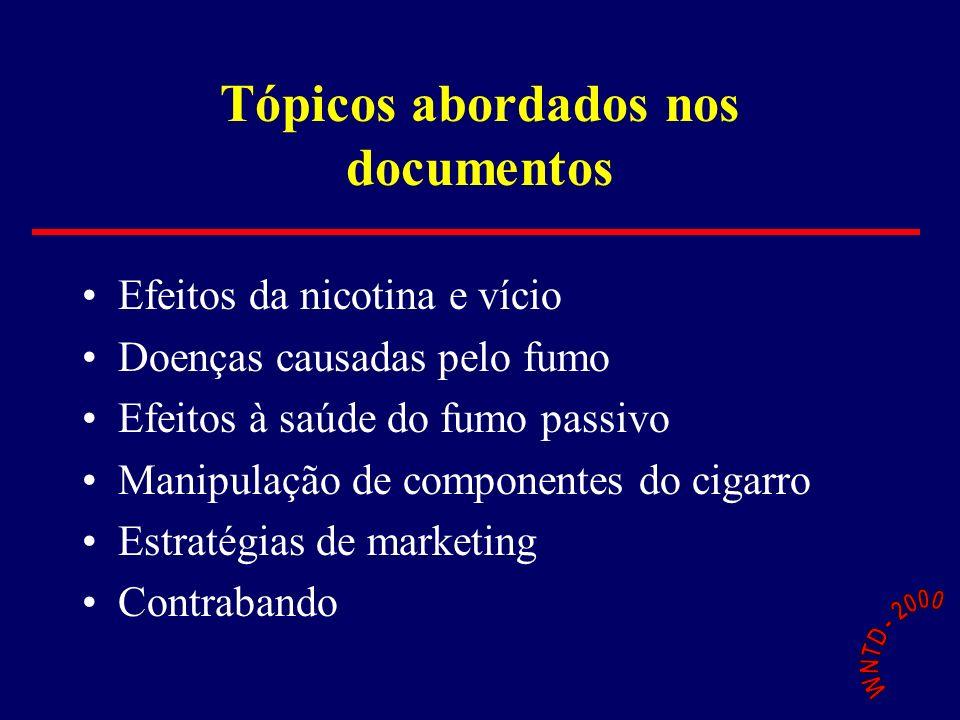 Tópicos abordados nos documentos Efeitos da nicotina e vício Doenças causadas pelo fumo Efeitos à saúde do fumo passivo Manipulação de componentes do cigarro Estratégias de marketing Contrabando