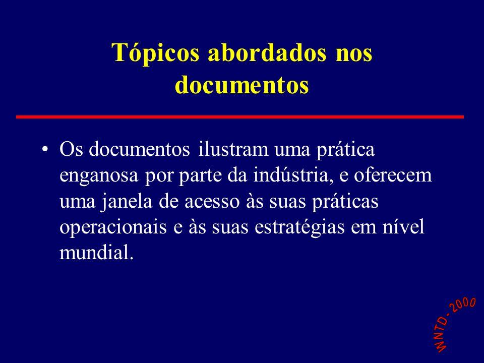 Tópicos abordados nos documentos Os documentos ilustram uma prática enganosa por parte da indústria, e oferecem uma janela de acesso às suas práticas operacionais e às suas estratégias em nível mundial.