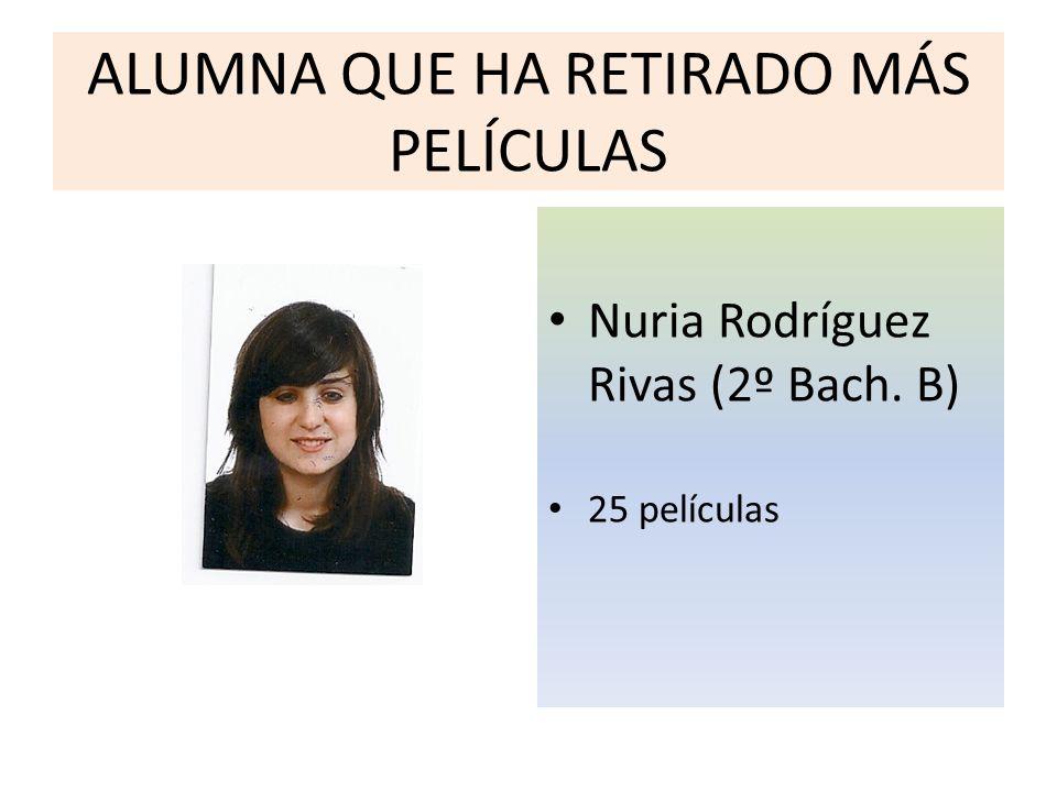 ALUMNA QUE HA RETIRADO MÁS PELÍCULAS Nuria Rodríguez Rivas (2º Bach. B) 25 películas