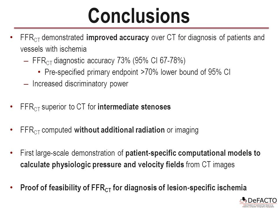 Conclusions FFR CT demonstrated improved accuracy over CT for diagnosis of patients and vessels with ischemia – FFR CT diagnostic accuracy 73% (95% CI