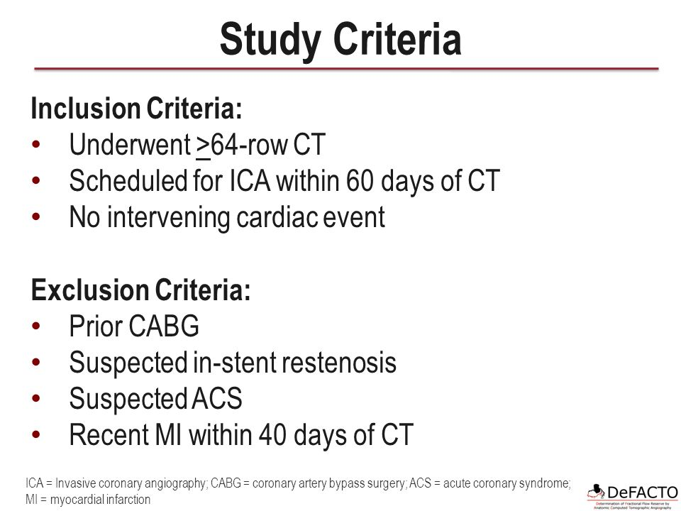 Study Criteria Inclusion Criteria: Underwent >64-row CT Scheduled for ICA within 60 days of CT No intervening cardiac event Exclusion Criteria: Prior