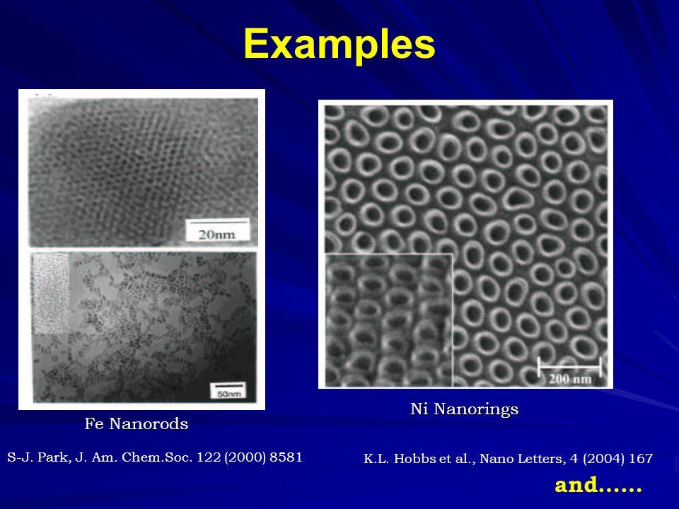 Examples Fe Nanorods Ni Nanorings S-J. Park, J. Am.