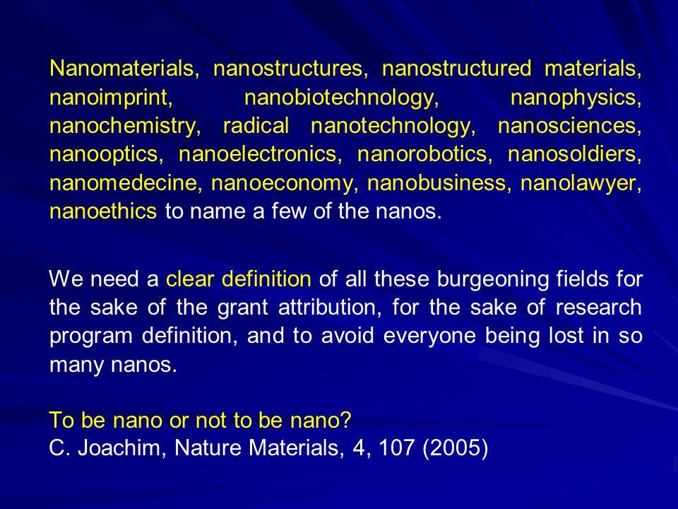 Nanomaterials, nanostructures, nanostructured materials, nanoimprint, nanobiotechnology, nanophysics, nanochemistry, radical nanotechnology, nanosciences, nanooptics, nanoelectronics, nanorobotics, nanosoldiers, nanomedecine, nanoeconomy, nanobusiness, nanolawyer, nanoethics to name a few of the nanos.