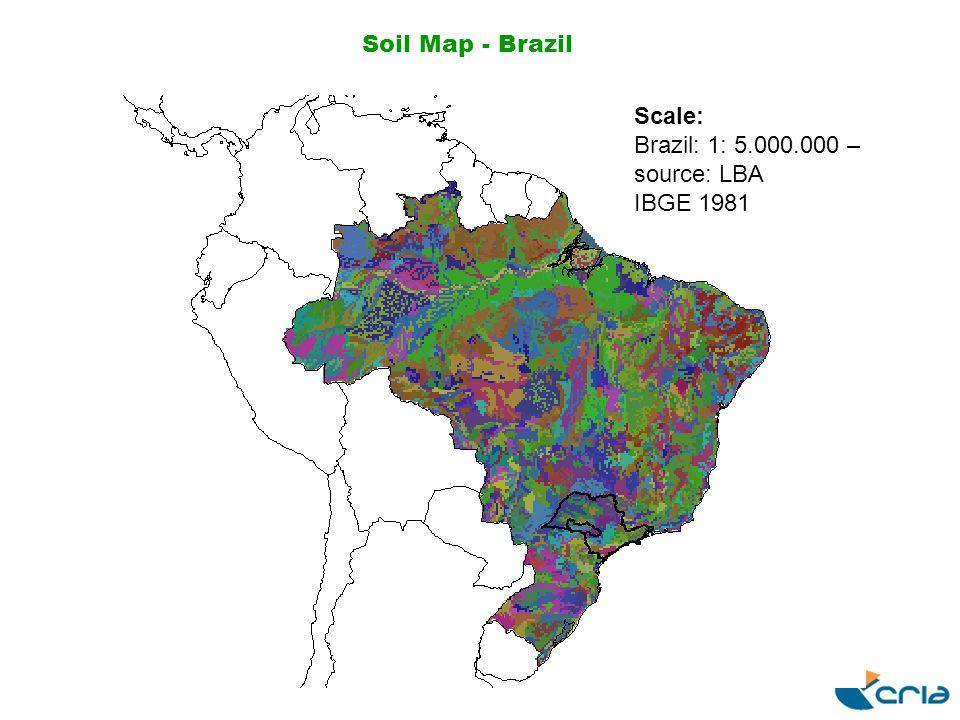 Soil Map - Brazil Scale: Brazil: 1: 5.000.000 – source: LBA IBGE 1981