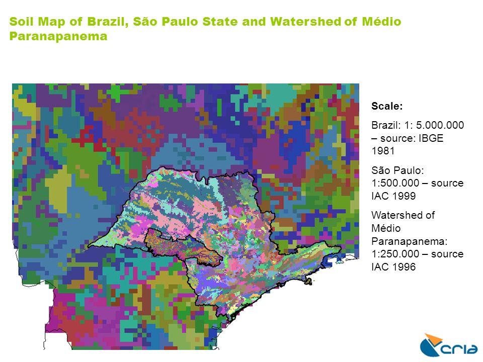 Scale: Brazil: 1: 5.000.000 – source: IBGE 1981 São Paulo: 1:500.000 – source IAC 1999 Watershed of Médio Paranapanema: 1:250.000 – source IAC 1996 So