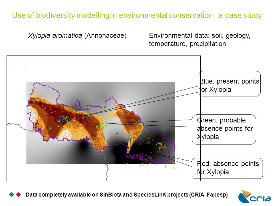 Use of biodiversity modelling in environmental conservation - a case study Data completely available on SinBiota and SpeciesLinK projects (CRIA Fapesp) Xylopia aromatica (Annonaceae)Environmental data: soil, geology, temperature, precipitation Blue: present points for Xylopia Red: absence points for Xylopia Green: probable absence points for Xylopia