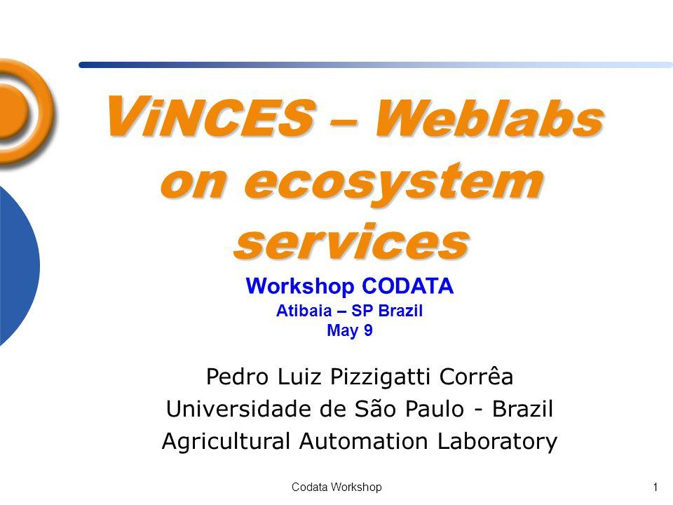 Codata Workshop1 V iNCES – Weblabs on ecosystem services Pedro Luiz Pizzigatti Corrêa Universidade de São Paulo - Brazil Agricultural Automation Laboratory Workshop CODATA Atibaia – SP Brazil May 9
