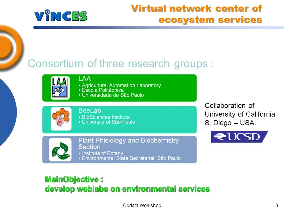 Codata Workshop2 Summary Introduction ViNCES Weblabs: photosynthesis and pollinators System Architecture Future works