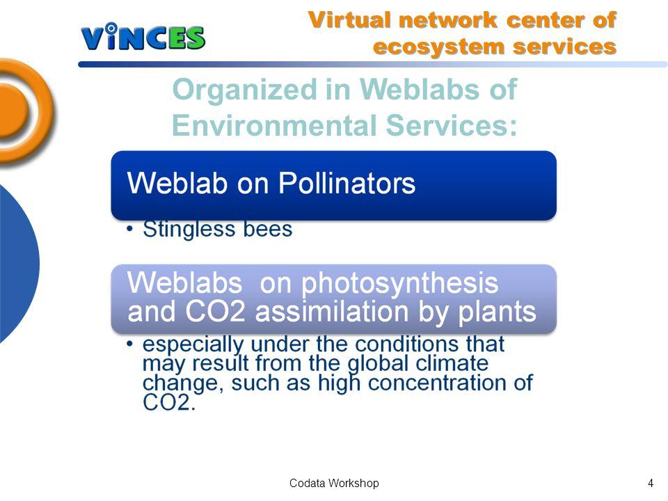 Codata Workshop14 Architecture Components Data Weblab Model Virtual network center of ecosystem services