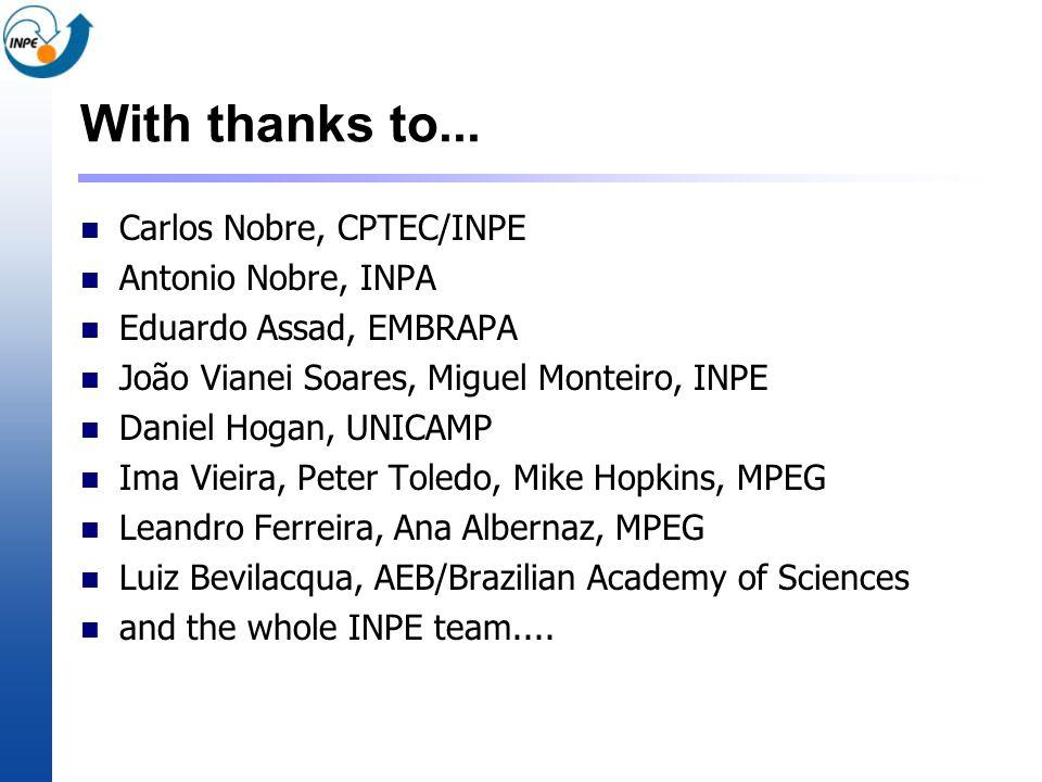 With thanks to... Carlos Nobre, CPTEC/INPE Antonio Nobre, INPA Eduardo Assad, EMBRAPA João Vianei Soares, Miguel Monteiro, INPE Daniel Hogan, UNICAMP