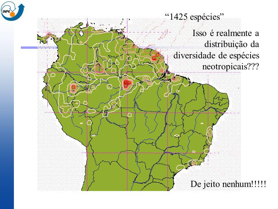 Isso é realmente a distribuição da diversidade de espécies neotropicais??? 1425 espécies De jeito nenhum!!!!!