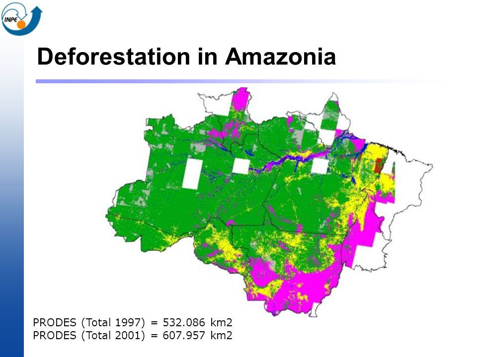 Deforestation in Amazonia PRODES (Total 1997) = 532.086 km2 PRODES (Total 2001) = 607.957 km2