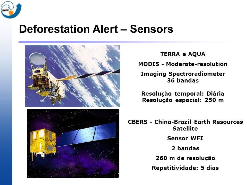 Deforestation Alert – Sensors TERRA e AQUA MODIS - Moderate-resolution Imaging Spectroradiometer 36 bandas Resolução temporal: Diária Resolução espaci