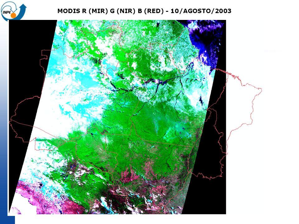 MODIS R (MIR) G (NIR) B (RED) - 10/AGOSTO/2003