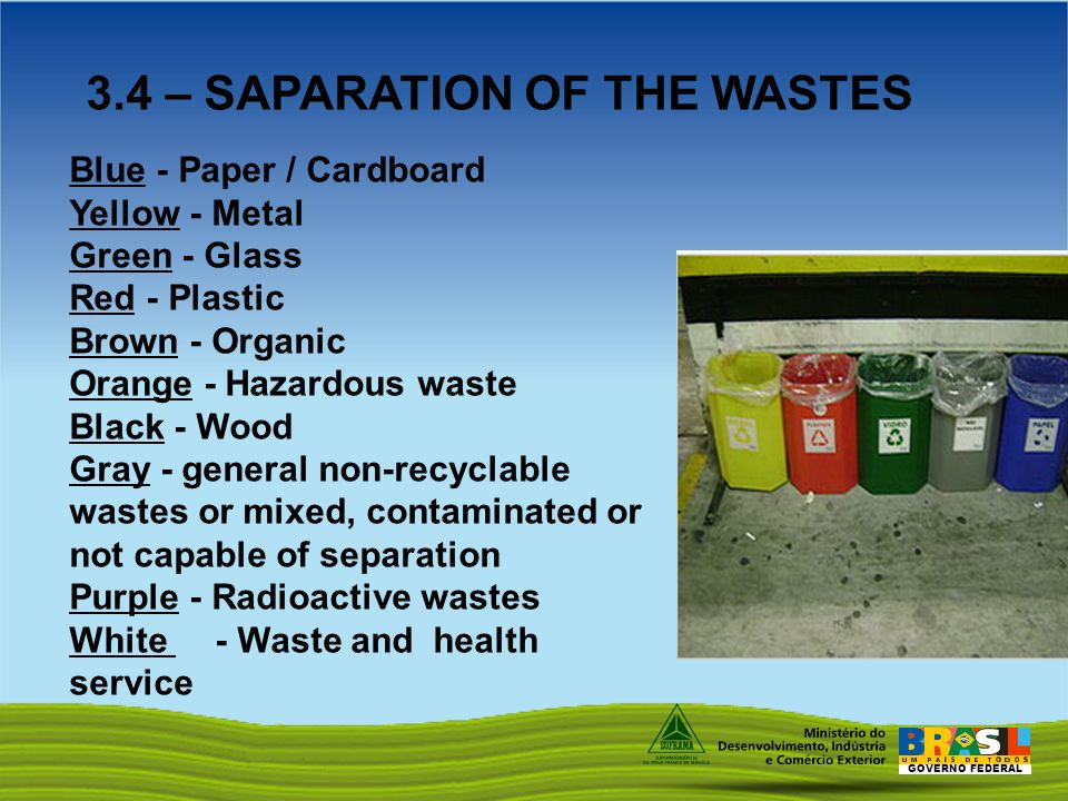 GOVERNO FEDERAL Blue - Paper / Cardboard Yellow - Metal Green - Glass Red - Plastic Brown - Organic Orange - Hazardous waste Black - Wood Gray - general non-recyclable wastes or mixed, contaminated or not capable of separation Purple - Radioactive wastes White - Waste and health service 3.4 – SAPARATION OF THE WASTES