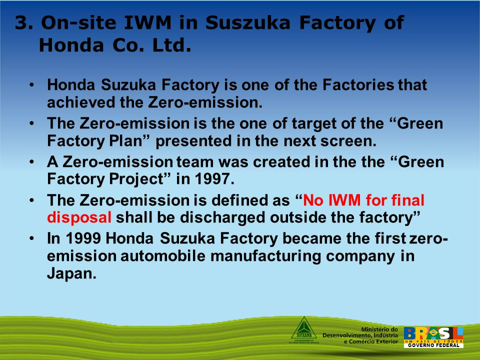 GOVERNO FEDERAL 3. On-site IWM in Suszuka Factory of Honda Co.