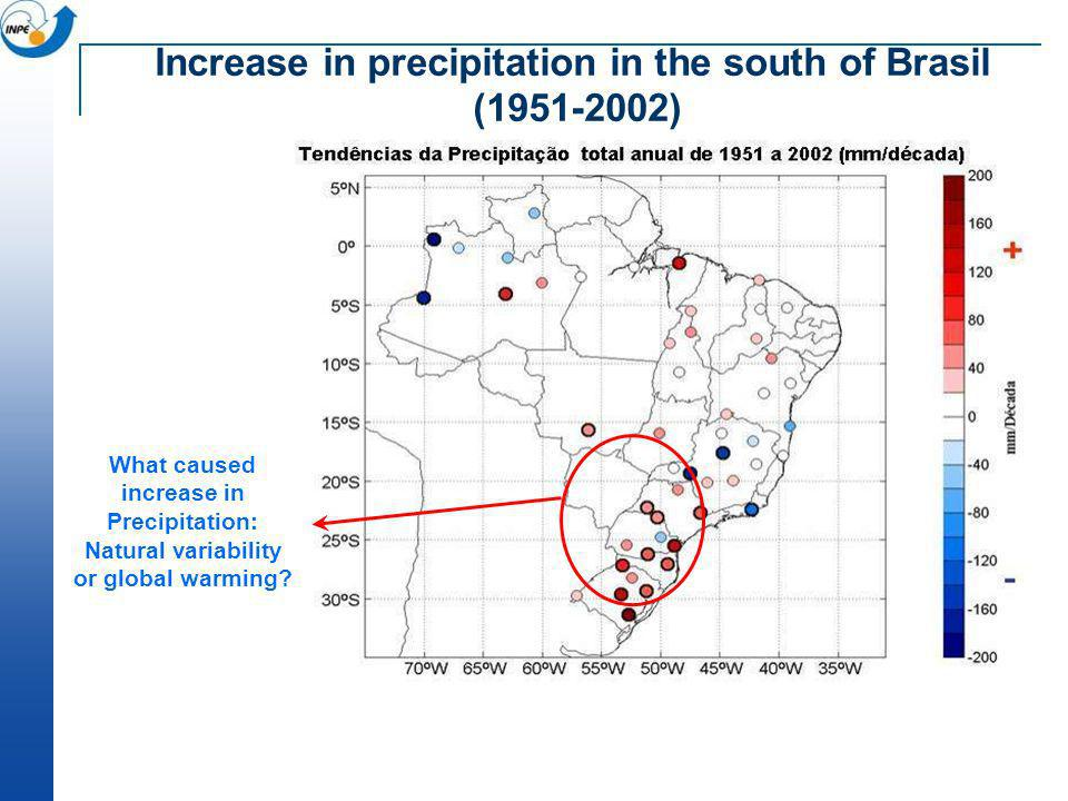 What caused increase in Precipitation: Natural variability or global warming? Increase in precipitation in the south of Brasil (1951-2002)