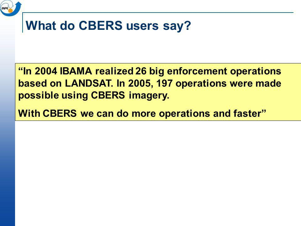 What do CBERS users say? In 2004 IBAMA realized 26 big enforcement operations based on LANDSAT. In 2005, 197 operations were made possible using CBERS