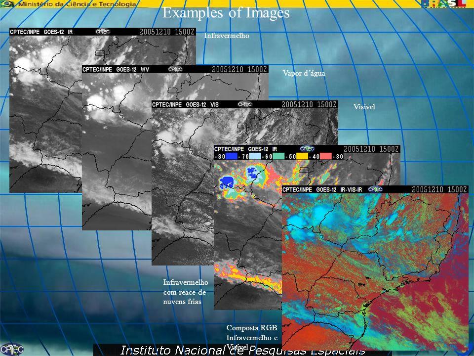 Examples of Images Infravermelho Vapor d´água Visível Infravermelho com reace de nuvens frias Composta RGB Infravermelho e Visível