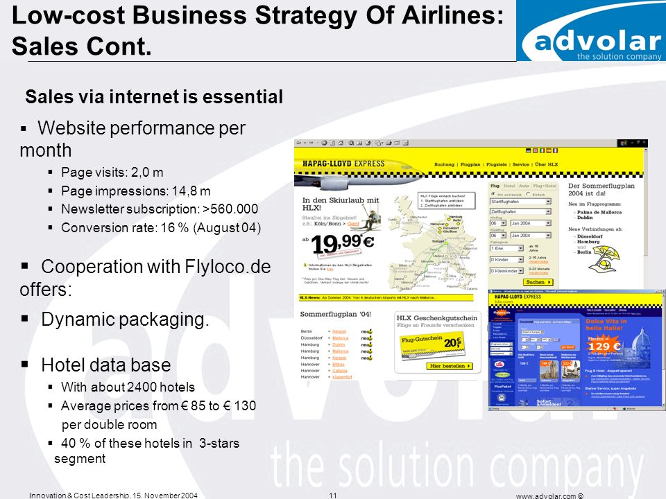 Innovation & Cost Leadership, 15. November 2004 www.advolar.com © 11 Low-cost Business Strategy Of Airlines: Sales Cont. Website performance per month