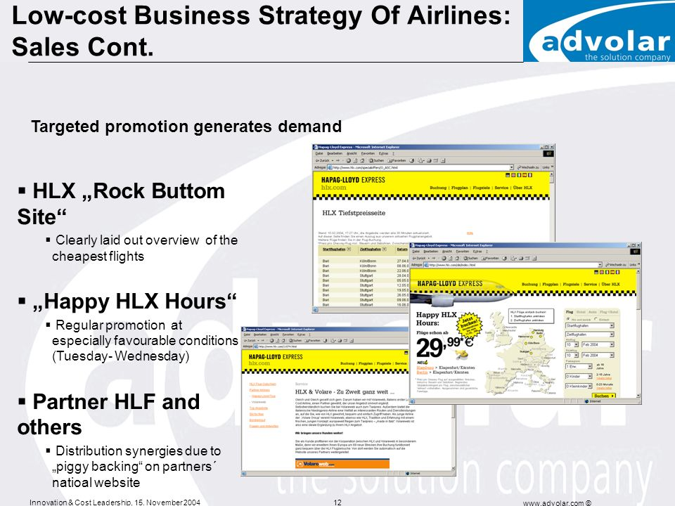 Innovation & Cost Leadership, 15. November 2004 www.advolar.com © 12 HLX Rock Buttom Site Clearly laid out overview of the cheapest flights Happy HLX